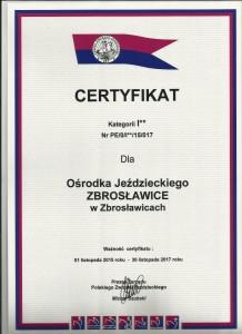 certyfikat osrodek 2015